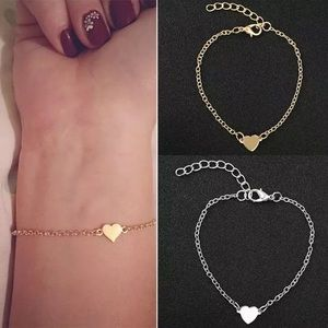 Love Heart Stainless Steel Bracelets silver gold